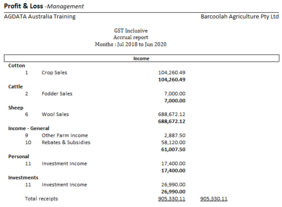 Profit and Loss Report ordered by Enterprise