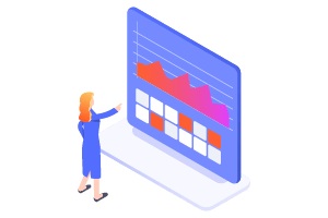 Illustration of lady looking at a dashboard with a graph