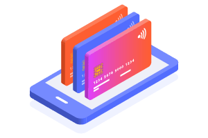 Illustration of three credit cards on smartphone