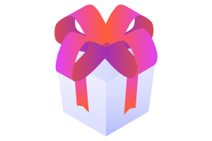 Illustration of a gift wrapped with a bow