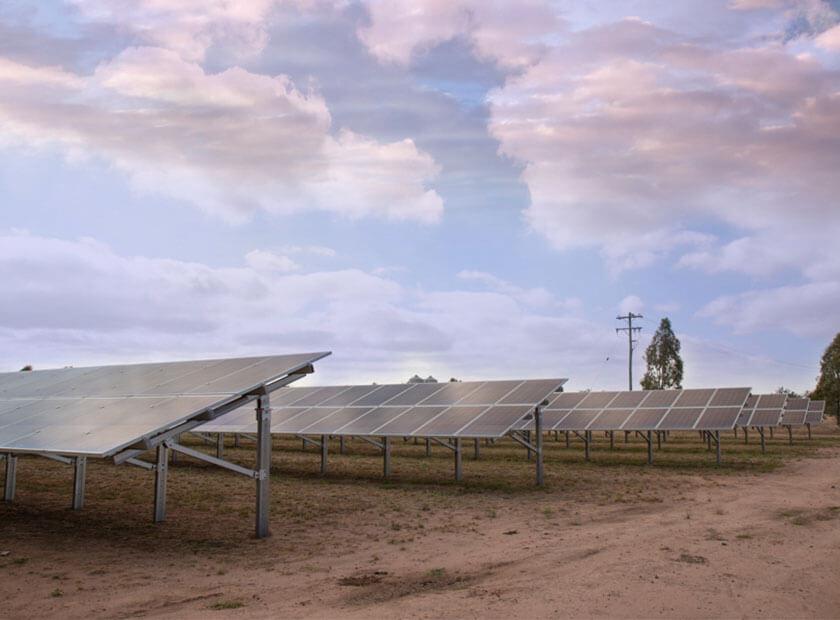 Solar panels installed on rural property