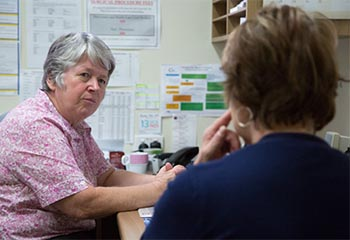 Lady discussing COPD action plan with doctor at Toowoomba Medical Centre