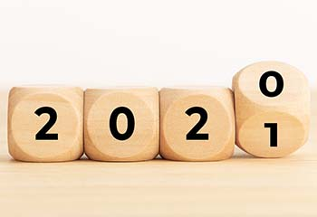 Blocks that show 2020 being turned into 2021