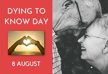 Dying to Know book cover and image of an elderly couple