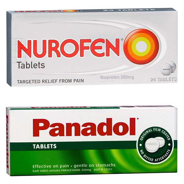 Boxes of Nurofen and Panadol