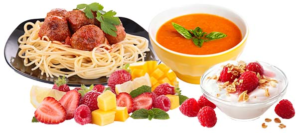 Meatballs and pasta, fruit salad, tomato soup and youghurt with raspberries